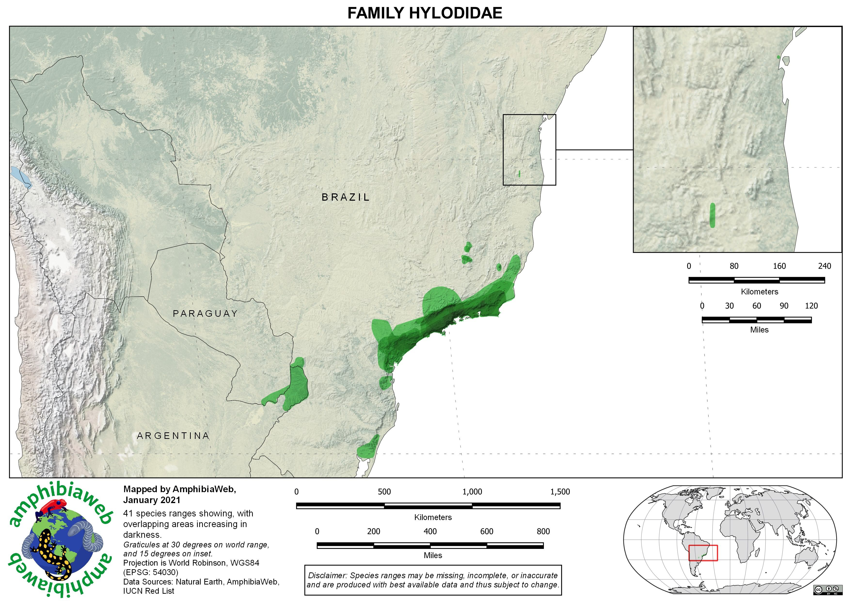 Hylodidae Richness map