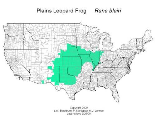 AmphibiaWeb Rana Blairi - Us amphibian distribution maps